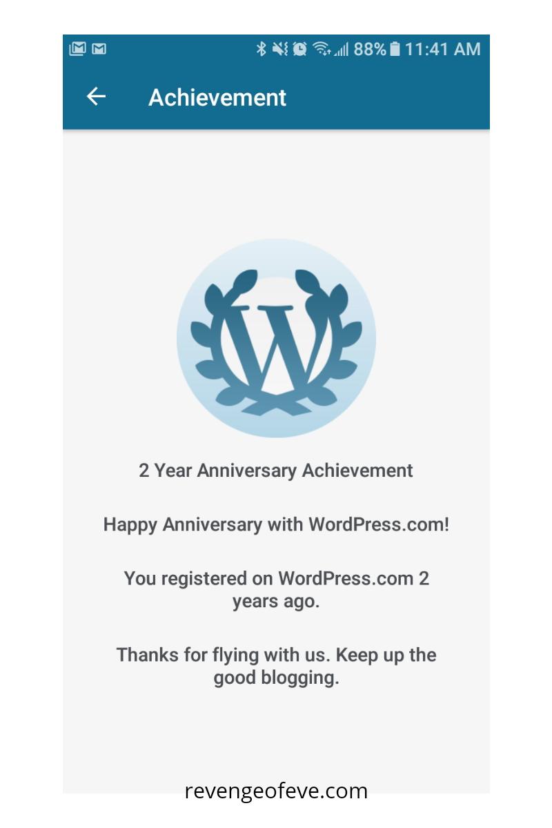 My anniversary notification-Revenge of Eve